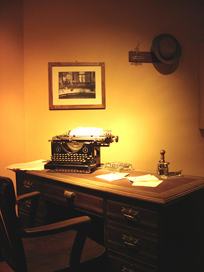Writer's desk with old-fashioned typewriter