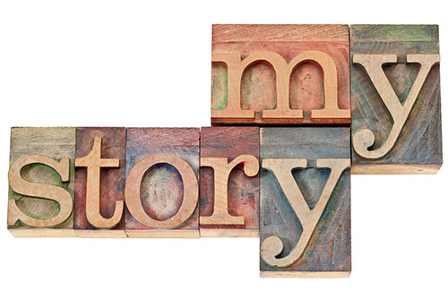 """My Story"" spelled with wood blocks"